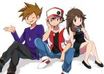 1girl 2boys ;) arm_support baseball_cap black_dress black_footwear black_hair blue_(pokemon) bracelet brown_eyes brown_hair chin_rest closed_mouth creatures_(company) denim dress finger_to_mouth game_freak hat highres jeans jewelry legs_crossed long_sleeves looking_at_viewer multiple_boys necklace nintendo one_eye_closed ookido_green open_mouth pants pokemon pokemon_(game) pokemon_lgpe purple_shirt red_(pokemon) red_(pokemon_rgby) sawarabi_(sawarabi725) shirt shoes sidelocks sitting smile sneakers spiky_hair