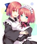 2girls ;d agekichi_(heart_shape) apron black_dress black_kimono blue_bow blue_eyes bow dress finger_to_mouth hair_bow hisui index_finger_raised japanese_clothes kimono kohaku long_sleeves looking_at_viewer maid_headdress multiple_girls neck_ribbon one_eye_closed open_mouth red_ribbon redhead ribbon shiny shiny_hair short_hair siblings sisters smile tsukihime white_apron white_background wide_sleeves yellow_eyes