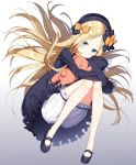 1girl abigail_williams_(fate/grand_order) black_bow black_dress black_footwear black_hat blonde_hair bloomers blue_eyes blush bow closed_mouth dress eyebrows fate/grand_order fate_(series) feet forehead gradient gradient_background hair_bow hat holding holding_stuffed_animal light_smile long_hair long_sleeves looking_at_viewer masuishi_kinoto object_hug orange_bow shoes sleeves_past_fingers sleeves_past_wrists smile solo stuffed_animal stuffed_toy teddy_bear underwear