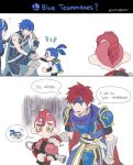 1girl 4boys agent_8 color_connection comic english fire_emblem fire_emblem:_kakusei gauntlets hair_color_connection hairband hand_on_another's_shoulder handshake ink_tank_(splatoon) inkling krom looking_at_another lucina multiple_boys nintendo noii octoling pointy_ears redhead roy_(fire_emblem) splatoon splatoon_2 splatoon_2:_octo_expansion splattershot_(splatoon) squidbeak_splatoon super_smash_bros. tearing_up thought_bubble yellow_eyes