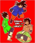3boys :d aida_kaiko black_gloves black_hair blue_coat boots border broly_(dragon_ball_super) character_name chest_scar coat commentary_request copyright_name dragon_ball dragon_ball_super dragon_ball_super_broly dragonball_z expressionless floating gloves green_coat hand_in_pocket happy long_hair looking_away looking_down looking_up male_focus multiple_boys open_mouth profile red_background scar serious shirtless short_hair simple_background smile son_gokuu spiky_hair torn_clothes torn_legwear vegeta white_border wristband