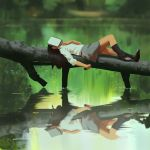 1girl black_hair blurry book book_on_head commentary depth_of_field hand_on_own_chest highres kneehighs lake log long_hair lying nature object_on_head on_back original reflection school_uniform skirt sleeping snatti solo tree water