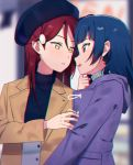 2girls :d beret black_hat blue_hair blurry blurry_background brown_coat chromatic_aberration coat face-to-face female hair_ornament hairclip hat highres hood hood_down hooded_coat long_hair long_sleeves looking_at_another love_live! love_live!_sunshine!! multiple_girls open_mouth parted_lips purple_coat redhead sakurauchi_riko sellel smile tsushima_yoshiko upper_body violet_eyes yellow_eyes yuri