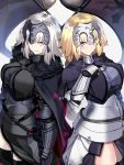 2girls black_legwear blonde_hair blue_eyes breasts circlet commentary_request fate/grand_order fate_(series) flag highres jeanne_d'arc_(alter)_(fate) jeanne_d'arc_(fate) jeanne_d'arc_(fate)_(all) large_breasts long_hair looking_at_viewer multiple_girls ninoude_(ninoude44) silver_hair smirk thigh-highs thighs yellow_eyes