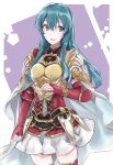 1girl aiueo1234853 aqua_eyes aqua_hair blue_hair breastplate eirika fingerless_gloves fire_emblem fire_emblem:_seima_no_kouseki fire_emblem_heroes gloves highres long_hair nintendo parted_lips red_gloves shoulder_armor skirt solo white_skirt