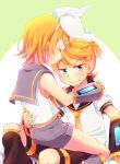 1boy 1girl ^_^ aqua_eyes armpits bare_shoulders blonde_hair bow brother_and_sister closed_eyes closed_eyes detached_sleeves eyebrows_visible_through_hair hair_bow hair_ornament hand_on_another's_waist hands_on_another's_shoulders headphones headset highres kagamine_len kagamine_rin leg_warmers looking_away looking_to_the_side necktie nervous reki_(arequa) sailor_collar shirt short_hair short_ponytail shorts shoulder_grab siblings sitting sitting_on_lap sitting_on_person sleeveless sleeveless_shirt sweat sweating_profusely twins vocaloid wavy_mouth yellow_neckwear