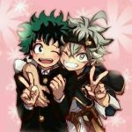 2boys arm_around_shoulder asta_(black_clover) belt black_clover boku_no_hero_academia crossover freckles green_eyes green_hair headband looking_at_viewer lowres midoriya_izuku multiple_boys one_eye_closed open_mouth school_uniform silver_hair smile v yellow_eyes