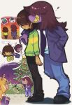 2girls androgynous arm_around_shoulder brown_hair buck_teeth chalk christmas_lights claws deltarune denim fangs hair_over_eyes hair_over_one_eye honzumaru jacket jeans kris_(deltarune) lancer_(deltarune) medium_hair multiple_girls noelle_(deltarune) pants purple_skin ralsei sharp_teeth smile susie_(deltarune) sweater teeth tomboy torn_clothes torn_pants walking