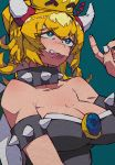 1girl absurdres aqua_background black_dress blonde_hair blue_eyes bowsette breasts cleavage collar collarbone dress eyebrows_visible_through_hair gem hair_between_eyes highres horns large_breasts looking_up mario_(series) new_super_mario_bros._u_deluxe nintendo open_mouth spiked_armlet spiked_collar spiked_shell spikes strapless strapless_dress turtle_shell upper_body yaya_hiyayaka