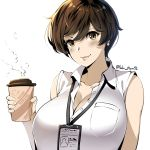 1girl absurdres badge bare_shoulders blush breasts brown_eyes brown_hair buttons cleavage closed_mouth coffee_cup collared_shirt commentary cup disposable_cup english_commentary highres holding holding_cup id_card lanyard large_breasts looking_at_viewer lulu-chan92 name_tag ol-chan_(norman_maggot) original partially_unbuttoned pixie_cut shirt short_hair sleeveless sleeveless_shirt smile solo steam twitter_username upper_body white_shirt