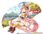 artist_name blue_cape blue_sky blush breasts brown_eyes brown_footwear brown_hat brown_ribbon cape cleavage company_name day dress flower grass hair_flower hair_ornament hat hat_flower hat_ribbon kai-ri-sei_million_arthur long_hair medium_breasts million_arthur_(series) mountain nyanya official_art outdoors pink_hair ribbon signpost sitting sky smile tree very_long_hair water watermark white_dress wristband