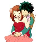 1boy 1girl backpack bag bare_shoulders blush boku_no_hero_academia brown_hair closed_eyes couple dress fingerless_gloves freckles gloves green_hair hetero hk_(nt) hug hug_from_behind messy_hair midoriya_izuku pink_dress pink_gloves red_gloves short_hair sidelocks single_glove smile strapless strapless_dress uraraka_ochako white_background
