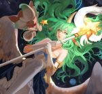 1girl alternate_costume alternate_eye_color alternate_hair_color animal_ears armlet bare_shoulders breasts elbow_gloves feathered_wings gloves green_eyes green_hair highres horn horns league_of_legends long_hair looking_at_viewer magical_girl medium_breasts planet pointy_ears skirt solo soraka space staff star_guardian_soraka thigh-highs user_rndg3335 very_long_hair wand white_gloves white_legwear white_wings wings