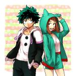 1boy 1girl :d black_pants blush boku_no_hero_academia border brown_eyes brown_hair freckles green_eyes green_hair green_hoodie green_shorts hand_in_pocket hands_in_pocket hk_(nt) hood hood_down hood_up hoodie messy_hair midoriya_izuku open_clothes open_hoodie open_mouth pants shirt short_hair shorts smile two-tone_jacket uraraka_ochako white_border white_shirt