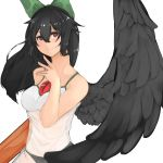 1girl alternate_costume arm_cannon bare_arms bare_shoulders bird_wings black_hair black_panties black_wings blush bow casual closed_mouth collarbone contemporary dress eyebrows_visible_through_hair green_bow hair_between_eyes hair_bow hand_up highres long_hair looking_at_viewer lunateelf panties red_eyes reiuji_utsuho see-through simple_background sleeveless sleeveless_dress slit_pupils smile solo spaghetti_strap stomach third_eye touhou underwear upper_body weapon white_background white_dress white_pupils wings