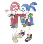 2boys blue_eyes blue_hair blush_stickers cheek_kiss closed_mouth hug inkling kiss long_sleeves male_focus mohawk multiple_boys nintendo noii octoling redhead shoes shorts simple_background sneakers splatoon splatoon_2 super_smash_bros. super_smash_bros._ultimate tearing_up tentacle_hair thick_eyebrows yaoi yellow_eyes
