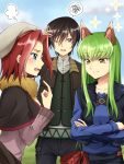 1boy 2girls animal_ears black_capelet black_pants blue_eyes blue_shirt brown_hair brown_scarf c.c. capelet code_geass collarbone cosplay craft_lawrence craft_lawrence_(cosplay) day eyebrows_visible_through_hair green_hair grey_hat grey_shirt hand_on_head highres holo holo_(cosplay) index_finger_raised kallen_stadtfeld legs_crossed lelouch_lamperouge long_hair multiple_girls one_eye_closed open_mouth outdoors pants purple_shirt redhead scarf setu_kurokawa shiny shiny_hair shirt short_hair signature smile speech_bubble spice_and_wolf sweatdrop violet_eyes wolf_ears yellow_eyes