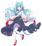 1girl :d animal_ears black_skirt blue_eyes blue_hair book cat_ears cat_girl cat_tail flower full_body hair_flower hair_ornament hair_ribbon holding holding_book japanese_clothes long_hair looking_at_viewer miko open_mouth original pink_footwear red_ribbon ribbon simple_background skirt smile solo star tail thigh-highs white_legwear wide_sleeves
