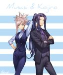 1boy 1girl alternate_costume assassin_(fate/stay_night) blue_eyes crossed_arms fate/grand_order fate_(series) formal kibou long_hair miyamoto_musashi_(fate/grand_order) ponytail simple_background suit