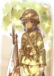 1girl absurdres ammunition_pouch arisaka bayonet blue_eyes blue_hair bolt_action flag gloves gun headband helmet highres imperial_japanese_army load_bearing_equipment long_hair longmei_er_de_tuzi looking_at_viewer military military_uniform original pouch rifle rising_sun short_ponytail sidelocks sketch soldier solo sunburst sunlight tree uniform weapon white_gloves world_war_ii