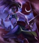 1girl akali akali_(redesign) back_tattoo bare_shoulders black_hair bracer breasts bridal_gauntlets covered_navel crescent_moon dagger eyeshadow face_mask hair_flip highres hip_vent league_of_legends lera_pi long_hair looking_at_viewer makeup mask medium_breasts moon navel night ninja pants patreon_username ponytail red_eyes redesign reverse_grip shoulder_tattoo solo tattoo toned tumblr_username weapon