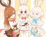 3girls :3 =_= albino animal_ears arctic_hare_(kemono_friends) bangs blush bow bowtie brown_eyes brown_gloves brown_hair brown_legwear bunny_girl capelet closed_eyes commentary_request easter easter_egg egg european_hare_(kemono_friends) eyebrows_visible_through_hair fur-trimmed_capelet fur-trimmed_shorts fur-trimmed_sleeves fur_collar fur_trim gloves gradient_hair hair_over_one_eye heart heart_print horizontal_stripes jitome juliet_sleeves kemono_friends lolita_fashion long_hair long_sleeves looking_at_viewer mountain_hare_(kemono_friends) multicolored_hair multiple_girls open_mouth pantyhose pantyhose_under_shorts pastel_colors pink_bow pink_neckwear platinum_blonde_hair puffy_shorts puffy_sleeves rabbit_ears red_eyes ringlets shiny shiny_skin shirt short_hair shorts sitting smile smug standing striped swept_bangs tail tareme tatsuno_newo thigh-highs twitter_username two-tone_hair white_hair white_legwear white_shirt white_shorts