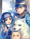 1girl 2boys :d asirpa bandanna biting black_hair blue_coat blue_eyes bow_(weapon) brown_eyes brown_scarf corset dog earrings facial_scar golden_kamuy hagino_kouta holding holding_bow_(weapon) holding_weapon jewelry long_hair looking_at_viewer multiple_boys ogata_hyakunosuke open_mouth outdoors retar scar scar_on_cheek scarf short_hair smile snow sugimoto_saichi twitter_username upper_body very_long_hair weapon