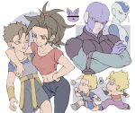 ! 2girls 4boys arm_around_shoulder armor bar_censor beamed_eighth_notes black_hair blonde_hair blue_background blue_shirt breasts caulifla censored champa_(dragon_ball) chibi clenched_hands close-up crossed_arms dragon_ball dragon_ball_super earrings expressionless eyelashes face frost_(dragon_ball) full_body gong_(mgong520) grin hand_on_hip hit_(dragon_ball) jewelry kefla_(dragon_ball) kyabe looking_down multiple_boys multiple_girls musical_note navel nervous pants pink_tank_top ponytail potara_earrings pout pouty_lips profile puffy_pants purple_pants red_eyes red_shirt running serious shirt short_hair simple_background smile speech_bubble spiky_hair super_saiyan sweatdrop tank_top translation_request upper_body white_background wristband