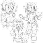 1girl blush bodysuit boku_no_hero_academia boots clenched_hands closed_eyes cosplay embarrassed gloves hk_(nt) hood hood_down laughing midoriya_izuku midoriya_izuku_(cosplay) monochrome multiple_views short_eyebrows short_hair sidelocks sweatdrop translation_request uraraka_ochako