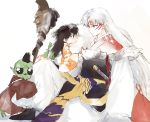 1girl 2boys armor black_eyes black_hair facepaint facial_mark forehead_mark fur hat highres inuyasha jaken japanese_clothes katana kimono leg_hug loli_bushi long_hair looking_at_another multiple_boys pointy_ears red_eyes rin_(inuyasha) robe scabbard sesshoumaru sheath sheathed simple_background sitting sleeves_past_wrists staff sword tokin_hat weapon white_background white_hair wide_sleeves