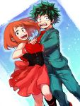 1boy 1girl :d bare_shoulders black_dress blush boku_no_hero_academia brown_eyes brown_hair couple dancing dress freckles gloves green_eyes green_hair green_suit hetero hk_(nt) looking_at_viewer messy_hair midoriya_izuku necktie open_mouth pink_dress red_gloves red_neckwear short_hair smile strapless strapless_dress two-tone_dress uraraka_ochako