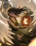 1girl angel_wings bird bracelet breasts brown_eyes brown_hair building cage choker cleavage closed_mouth copyright_name dragoborne dress green_dress green_legwear holding jewelry large_breasts long_hair profile raikoart solo thigh-highs watermark wind wings