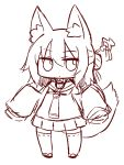 1girl animal_ear_fluff animal_ears bangs blush chibi closed_mouth eyebrows_visible_through_hair fox_ears fox_girl fox_tail full_body greyscale hair_between_eyes hair_bun hair_ornament hands_up kemomimi-chan_(naga_u) long_hair long_sleeves looking_at_viewer monochrome naga_u original pleated_skirt ribbon-trimmed_legwear ribbon_trim sailor_collar school_uniform serafuku simple_background sketch skirt sleeves_past_fingers sleeves_past_wrists solo standing tail thigh-highs white_background