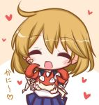 1girl :d ^_^ bandaid bandaid_on_cheek bangs blue_sailor_collar blue_skirt blush brown_background closed_eyes commentary_request creatures_(company) eyebrows_visible_through_hair facing_viewer game_freak gen_1_pokemon hair_between_eyes heart holding kantai_collection komakoma_(magicaltale) krabby light_brown_hair looking_at_viewer nintendo oboro_(kantai_collection) open_mouth pleated_skirt pokemon pokemon_(creature) sailor_collar school_uniform serafuku shirt skirt smile translated two-tone_background white_background white_shirt