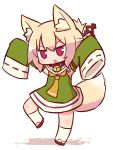 1girl animal_ear_fluff animal_ears arms_up bangs bell bell_collar blonde_hair blush brown_collar chibi collar detached_sleeves eyebrows_visible_through_hair fox_ears fox_girl fox_tail full_body green_shirt green_sleeves hair_between_eyes hair_ornament head_tilt jingle_bell kemomimi-chan_(naga_u) kneehighs long_sleeves looking_at_viewer naga_u orange_neckwear original red_eyes red_footwear ribbon-trimmed_sleeves ribbon_trim shirt sidelocks sleeveless sleeveless_shirt sleeves_past_fingers sleeves_past_wrists solo standing standing_on_one_leg tail v-shaped_eyebrows white_background white_legwear