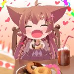 1girl :d ^_^ animal_ears antenna_hair bangs bendy_straw blurry blurry_foreground blush braid brown_hair cake chair closed_eyes closed_eyes commentary_request confetti cup depth_of_field doughnut drink drinking_glass drinking_straw eyebrows_visible_through_hair facing_viewer fangs food food_on_face hair_between_eyes hair_ornament hairclip heart highres holding holding_food ice ice_cube long_hair makuran momiji_(makuran) on_chair open_mouth original plate short_eyebrows sitting slice_of_cake smile solo table thick_eyebrows twin_braids very_long_hair