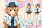 1girl bangs belt belt_buckle black_shirt blue_belt blue_footwear blue_hat blue_jacket blush brown_eyes brown_shorts buckle cabbie_hat cosplay craytm dakimakura flag gloves hair_between_eyes hat hataraku_saibou holding holding_flag jacket kneehighs light_brown_hair long_hair looking_at_viewer lying multiple_views no_shoes on_back on_side parted_lips platelet_(hataraku_saibou) red_blood_cell_(hataraku_saibou) red_blood_cell_(hataraku_saibou)_(cosplay) shirt shoes short_shorts short_sleeves shorts very_long_hair watermark white_gloves white_legwear