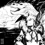 1girl absurdres anjanath anjanath_(armor) armor breasts cete_(controllingtime) greyscale highres mole mole_under_mouth monochrome monster_hunter monster_hunter:_world solo