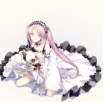 1girl arm_strap asterios_(fate/grand_order) bangs character_doll choker cis05 collarbone dress euryale fate/grand_order fate_(series) floating_hair full_body grey_background hairband kneeling lolita_hairband long_dress long_hair looking_at_viewer parted_bangs pink_eyes pink_hair shiny shiny_hair simple_background sleeveless sleeveless_dress smile solo thighlet twintails very_long_hair white_sleeves