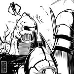 absurdres armor cete_(controllingtime) greyscale highres jyuratodus jyuratodus_(armor) middle_finger monochrome monster_hunter monster_hunter:_world solo
