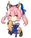 1girl :3 animal_ear_fluff animal_ears bare_shoulders blue_legwear blue_ribbon breasts chibi cleavage detached_sleeves eyebrows_visible_through_hair fate/extra fate/grand_order fate_(series) fox_ears fox_girl fox_tail hair_ribbon highres japanese_clothes large_breasts looking_at_viewer oni_no_shura pink_hair ribbon simple_background solo tail tamamo_(fate)_(all) tamamo_no_mae_(fate) white_background yellow_eyes