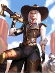 1girl arm_at_side ashe_(overwatch) asymmetrical_clothes belt black_nails blue_sky bob_(overwatch) cowboy_hat eyeshadow fingerless_gloves gloves gun hat liang_xing lipstick looking_at_viewer loose_belt makeup medium_hair mole mole_above_mouth nail_polish over_shoulder overwatch red_lipstick rifle robot sky smile smoke solo_focus tattoo weapon weapon_over_shoulder white_hair