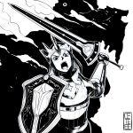 1girl absurdres armor cete_(controllingtime) crown greyscale highres looking_at_viewer mole mole_under_eye monochrome monster_hunter monster_hunter:_world open_mouth screaming shield solo sword weapon zorah_magdaros zorah_magdaros_(armor)