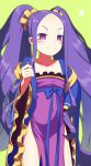 1girl absurdres bangs blue_bow blush bow chinese_clothes closed_mouth collarbone commentary_request dress fate/grand_order fate_(series) forehead frilled_dress frills green_background hair_ornament hair_scrunchie hand_up hanfu highres long_hair looking_at_viewer parted_bangs purple_dress purple_hair sanbe_futoshi scrunchie sidelocks simple_background smile solo standing strapless strapless_dress v-shaped_eyebrows very_long_hair violet_eyes wu_zetian_(fate/grand_order) yellow_scrunchie