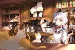1girl ahoge analog_clock animal animal_ears blue_eyes blush book cat cat_ears catulus_syndrome choker clock coffee coffee_grinder coffee_pot colored_eyelashes cup drinking_glass faucet fork frilled_sleeves frills furrowed_eyebrows heterochromia highres holding holding_book holding_pot indoors jar light_particles long_hair low_twintails official_art orange_eyes plaid plaid_sailor_collar plate pouring puffy_short_sleeves puffy_sleeves school_uniform serafuku shelf shinonome_neko-tarou shirakaba_yuki short_sleeves sink solo twintails v-shaped_eyebrows white_hair wine_glass