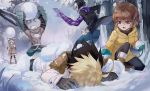 2girls 3boys absurdly_long_hair ahoge black_hair blonde_hair boots brown_hair chest_hair coat dark_skin dark_skinned_male forehead_jewel fur_trim gauntlets hyde_(under_night_in-birth) linne long_hair low_twintails lying mittens multicolored_hair multiple_boys multiple_girls on_stomach plaid plaid_scarf qitoli red_eyes scarf seth_(under_night_in-birth) shirtless short_hair snow snowball snowball_fight twintails two-tone_hair under_night_in-birth vatista very_long_hair violet_eyes waldstein white_hair winter_clothes winter_coat