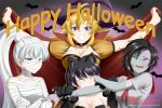 4girls alfred_cullado animal_ears bat biting blake_belladonna breasts cape cat_ears cat_girl choker cleavage closed_mouth facial_scar grin halloween highres multiple_girls mummy_costume ruby_rose rwby scar scar_across_eye scar_on_cheek school_uniform serafuku siblings sisters smile stitches weiss_schnee witch yang_xiao_long zombie