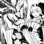 1girl absurdres armor cete_(controllingtime) crown greyscale highres looking_at_viewer mole mole_under_mouth monochrome monster_hunter monster_hunter:_world seiza sitting solo teostra teostra_(armor)