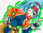 1girl ashe_(rockman) blue_hair blush bodysuit breasts cowboy_shot cropped_jacket dojyo5963 dutch_angle gloves green_eyes hair_between_eyes hand_on_hip headband high_ponytail long_hair looking_at_viewer medium_breasts one_eye_closed ponytail rockman rockman_zx rockman_zx_advent salute signature simple_background smile solo teeth two-finger_salute