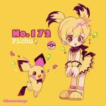 1girl bangs black_hair blonde_hair blush_stickers character_name creatures_(company) dress earrings english full_body game_freak gen_2_pokemon hair_between_eyes lightning_bolt looking_at_viewer mameeekueya moemon multicolored_hair nintendo open_mouth personification pichu pink_legwear poke_ball pokemon pokemon_(creature) pokemon_number shoes simple_background smile standing twintails twitter_username yellow_background yellow_dress yellow_footwear